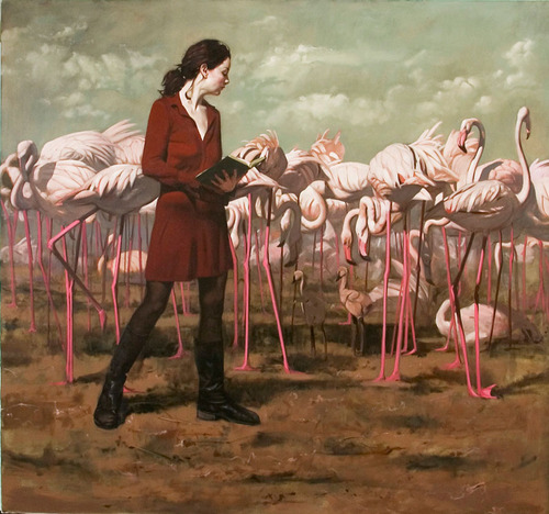 Flamingos - Painting by Brian Brown