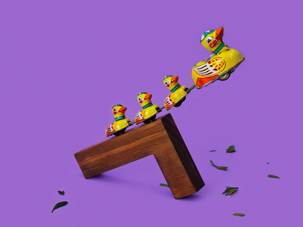 Duck toys jumping - - Art Direction by Driv Loo