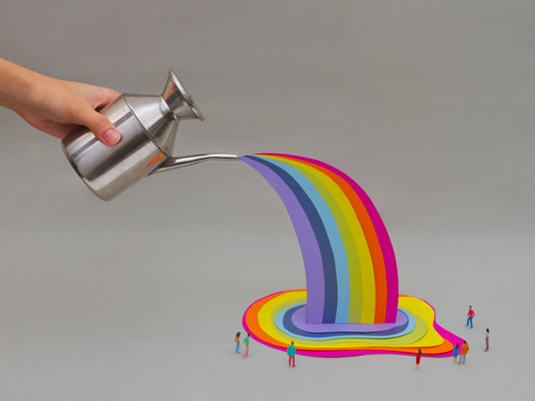 Watering can with rainbow- Art Direction by Driv Loo
