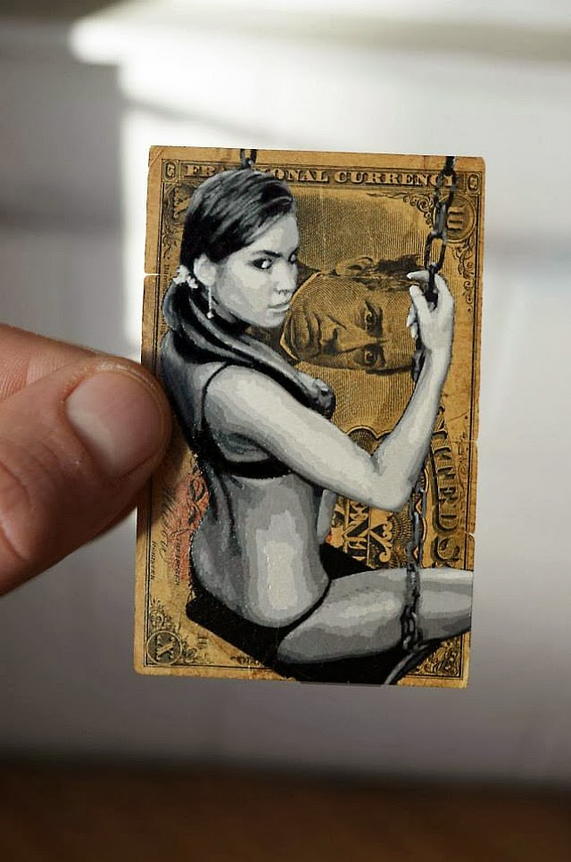 Painting of Woman on a Swing on US Banknote - Artwork by Penny