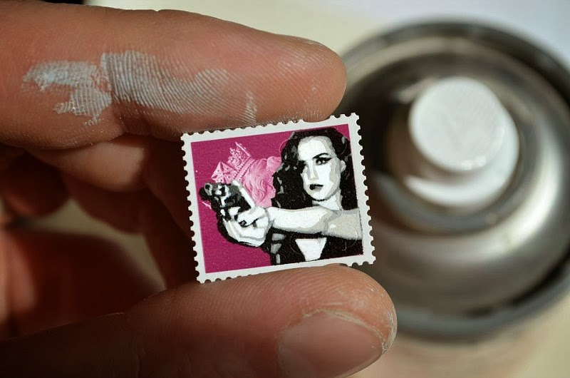 Stencil Painting on a Postage Stamp - Artwork by Penny