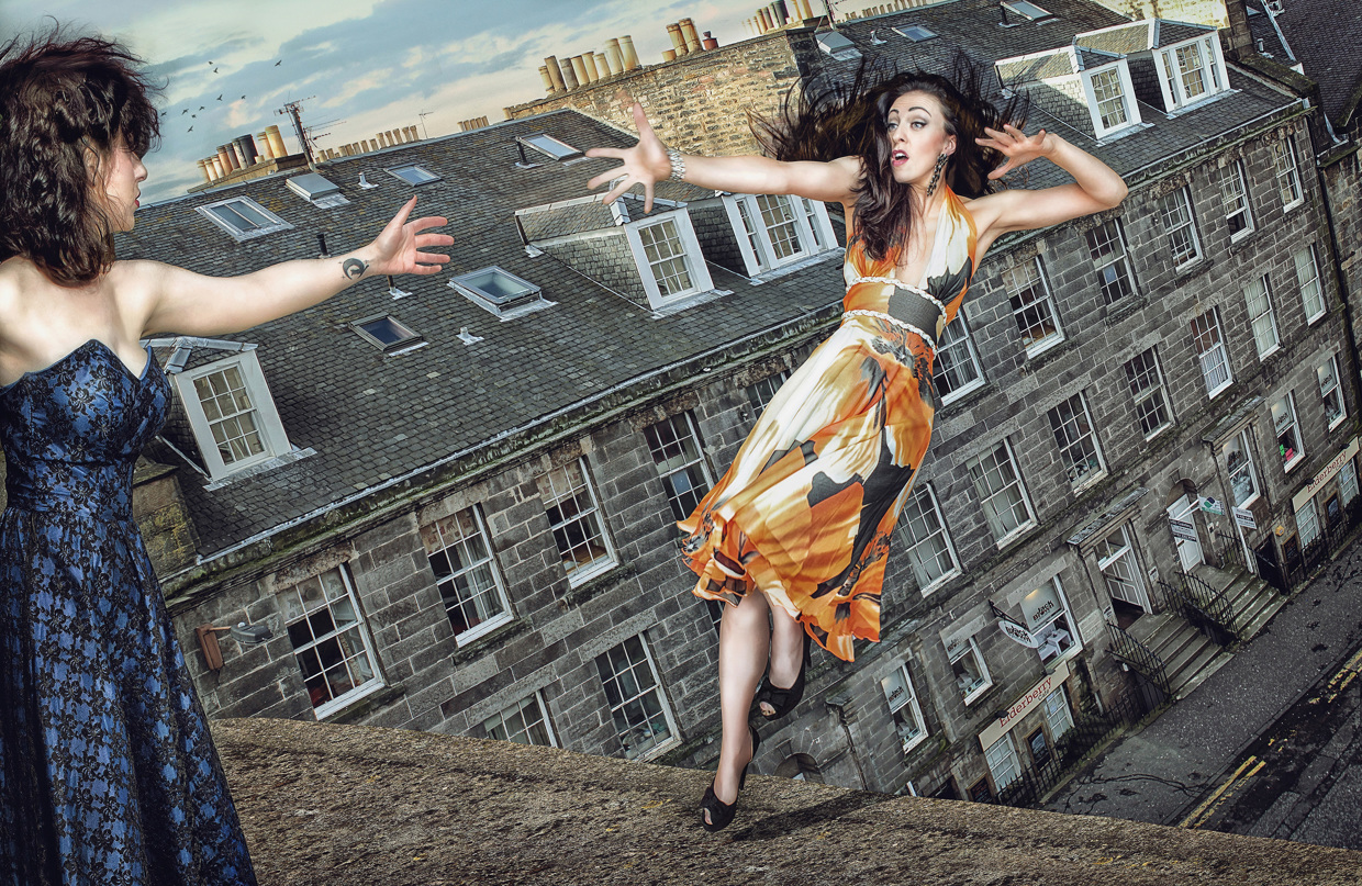 A Young Woman Falling from a Rooftop - Photo by Lee Howell