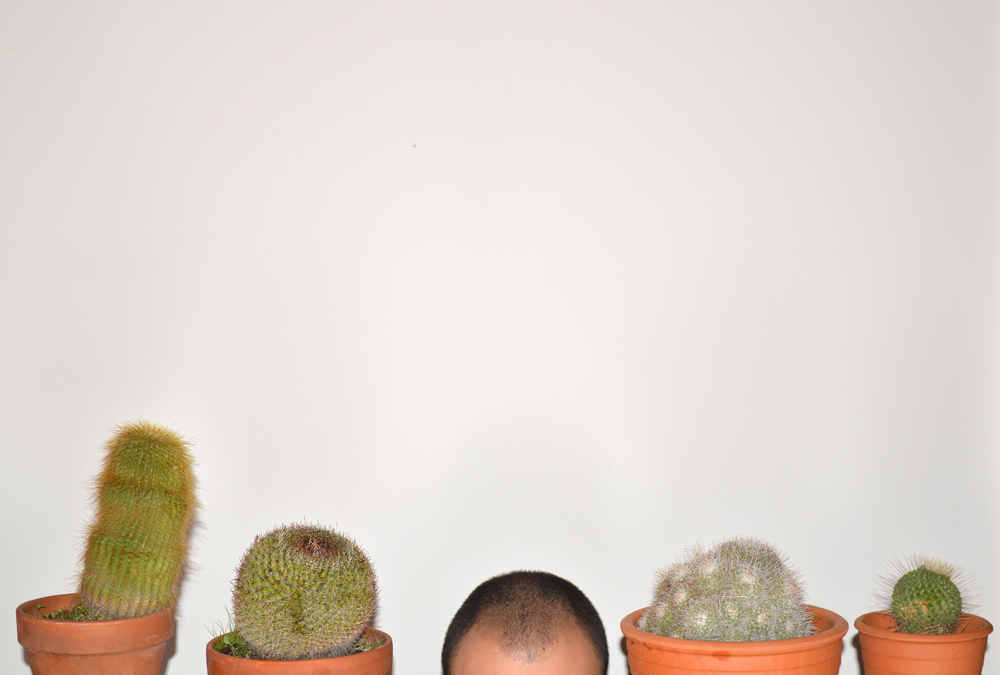 Man's head with cacti  - Photo by Kostis Fokas