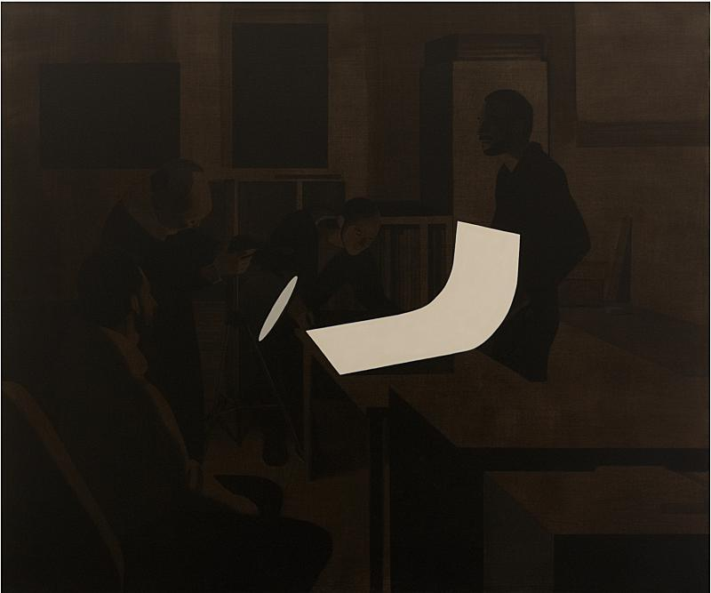 People examining a document  - Painting by Fernando Martín Godoy