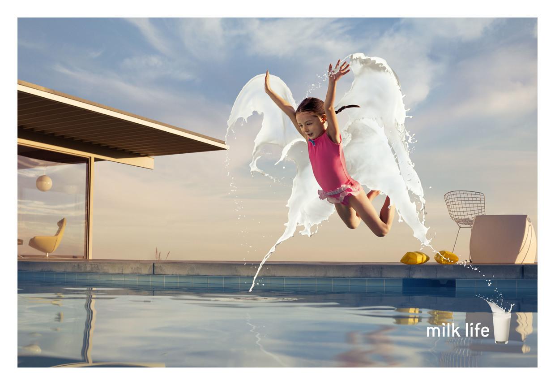 Girl Jumping into Pool - Milk Life - Photo by Dimitri Daniloff