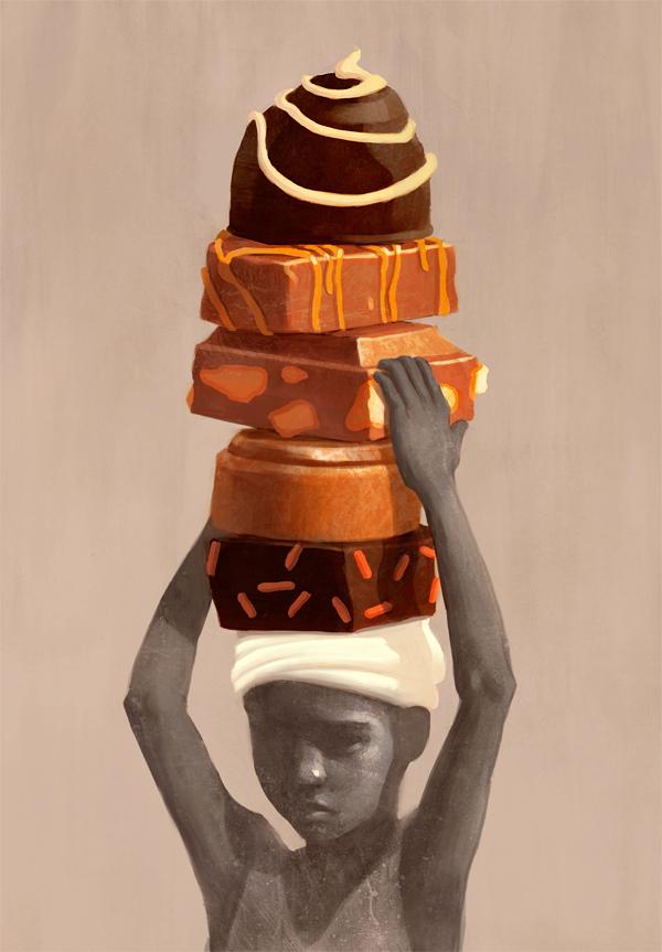 On Child Labor in Cocoa Production - Illustration by Fredrik Rattzen