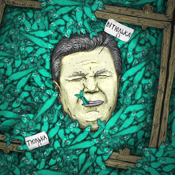 Viktor Yanukovych - Street art by Mr. Brown Green