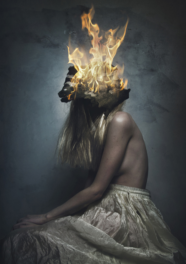 Woman on fire - Portrait by Flora Borsi