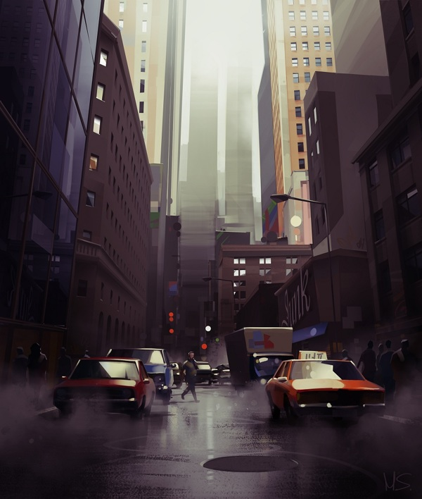 Cityscape 1 Digital Painting by Michal Sawtyruk