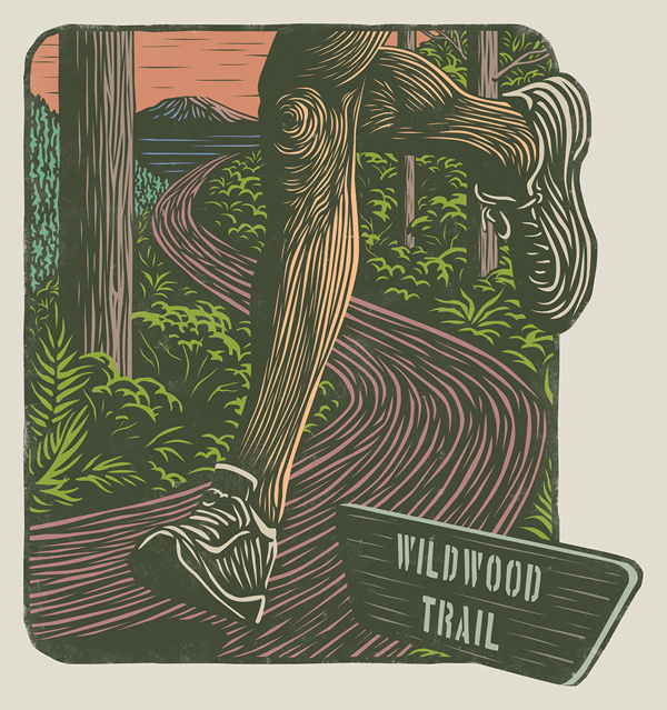 Morning Routine - Woodcut by Mitch Frey