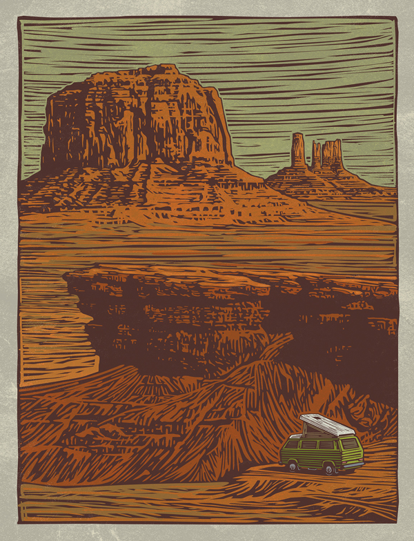 Open House (Day) - Woodcut by Mitch Frey