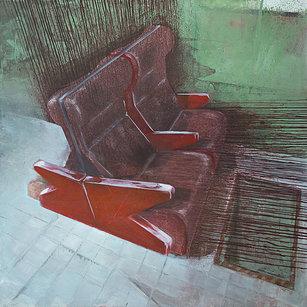 Red Seat - Painting by Dániel Bajkó