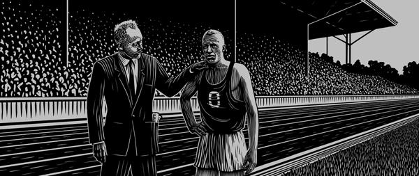 The Handshake  - Woodcut by Mitch Frey