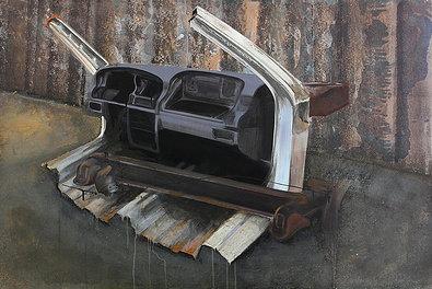 Wreck II - Painting by Dániel Bajkó