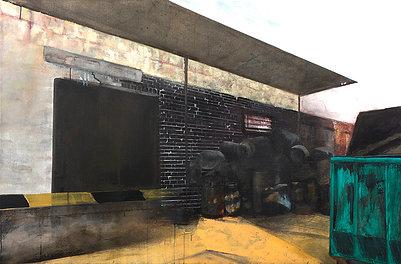 Yard - Painting by Dániel Bajkó