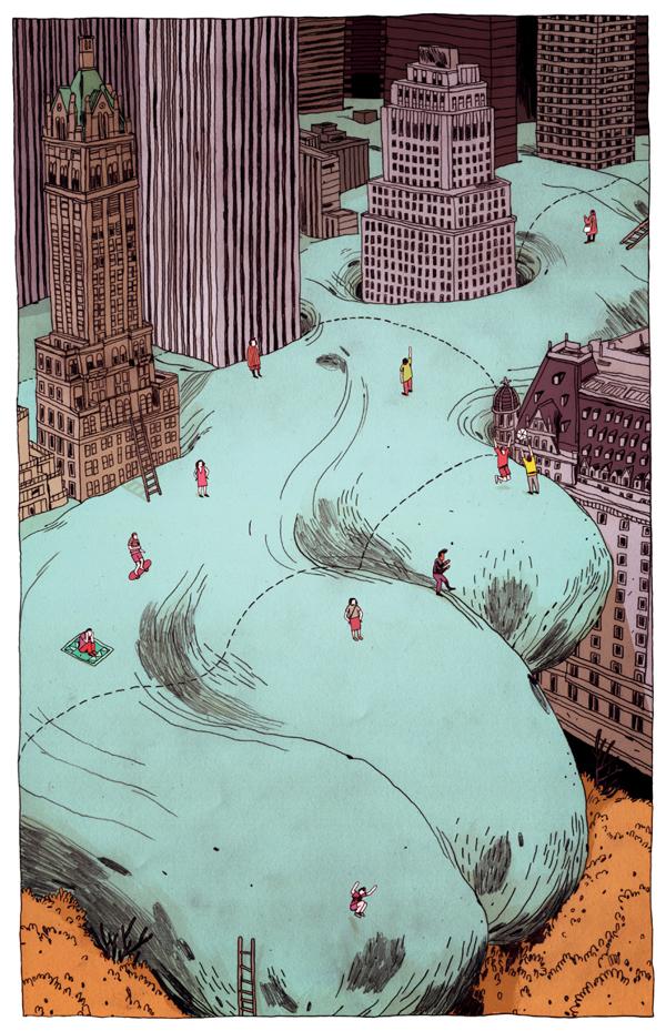 Barthelme y su Globo - Illustration by Jon Juarez
