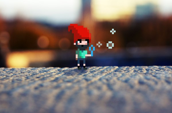 Gnome - Pixels in Photo - Art by Karina Dehtyar