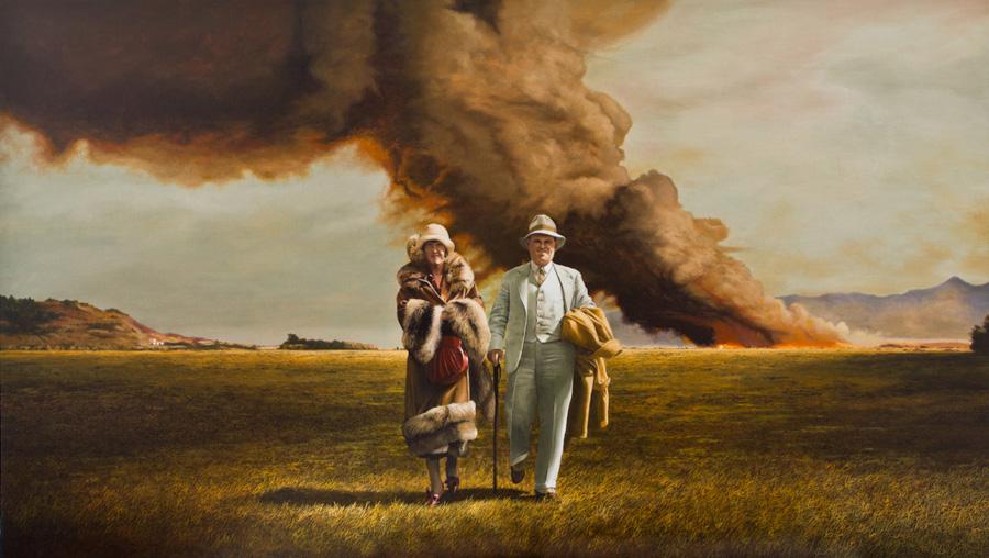 Pareja e incendio  - Painting by Juan Martínez Bengoechea