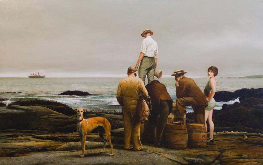 5 personas y un perro -  - Painting by Juan Martínez Bengoechea
