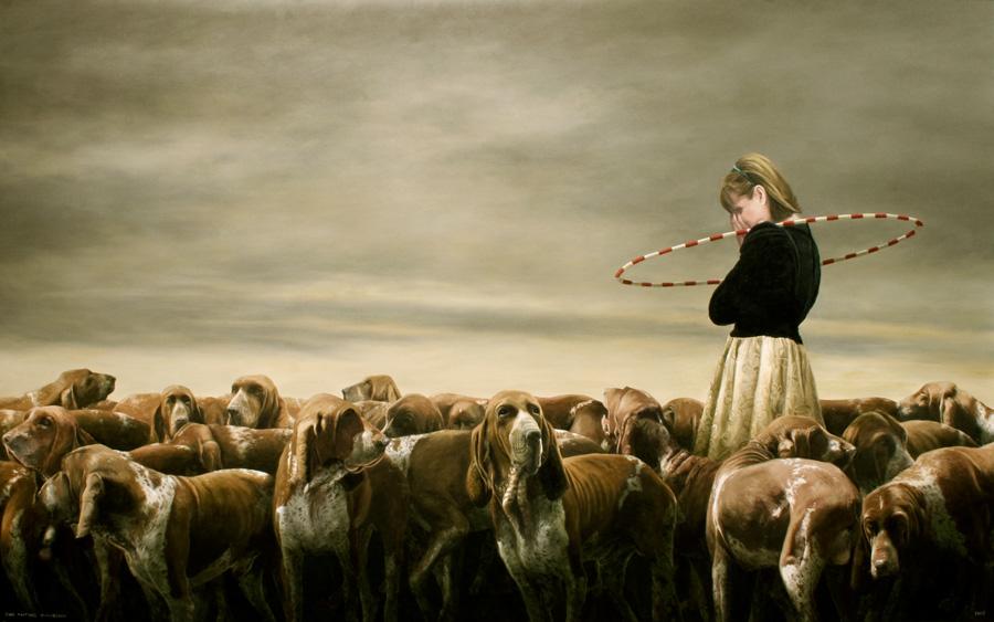 Andrea con Perros  - Painting by Juan Martínez Bengoechea