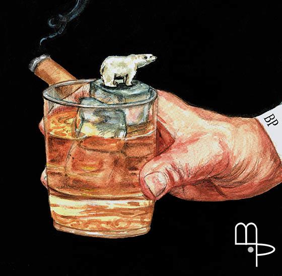Polar Bear on Glass - Cartoon by Mauricio Parra