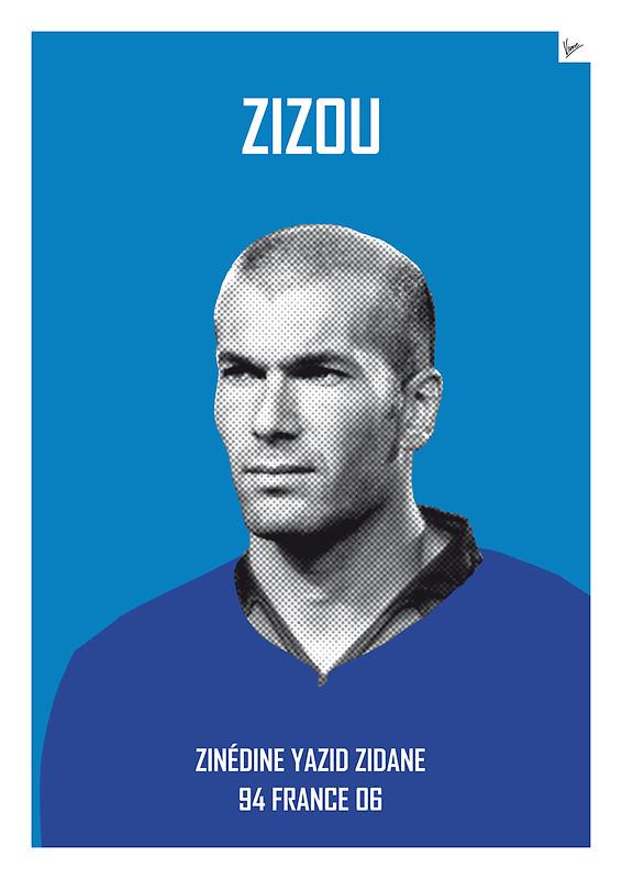 Zizou - Zinedine Yazid Zidane - Football Legends Poster by Chungkong