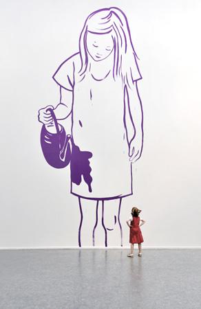 Exposition collective Quand je serais petite, Musée des beaux arts de Calais, 2010 - Wall Drawing - Installation Art by Françoise Pétrovitch