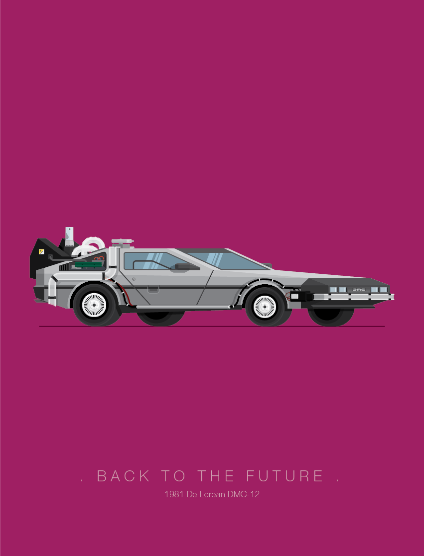 Back to the Future - Famous Cars - Art by Frederico Birchal
