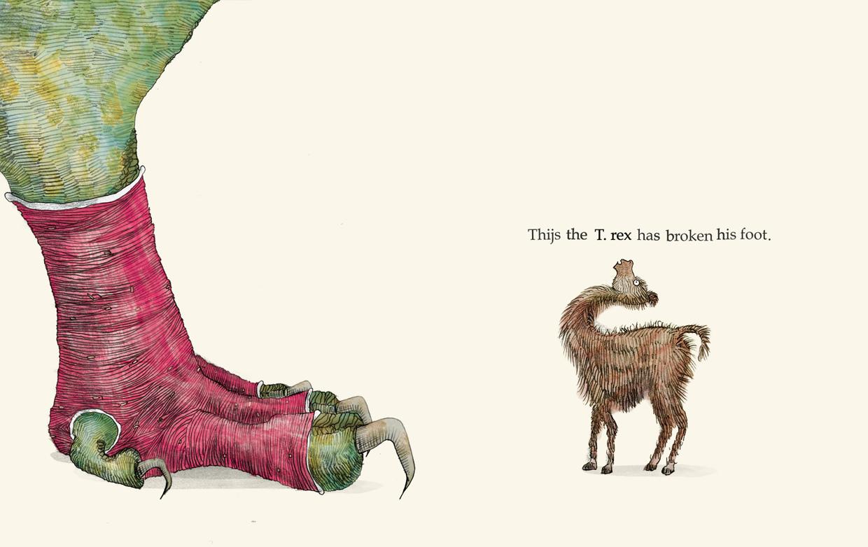 Thijs the T Rex has broken his foot - Broken - Picture Book by Pieter van den Heuvel