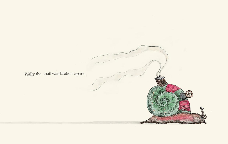 Wally the snail was broken apart - Broken - Picture Book by Pieter van den Heuvel