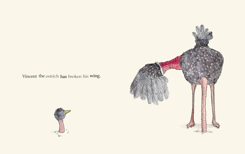 Vincent the ostrich has broken his wing - Broken - Picture Book by Pieter van den Heuvel
