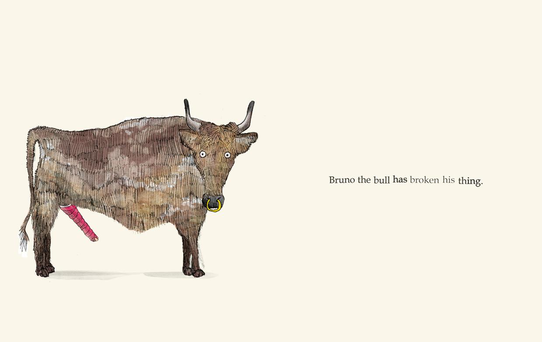 Bruno the bull has broken his thing - Broken - Picture Book by Pieter van den Heuvel