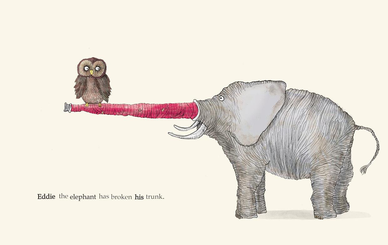 Eddie the elephant has broken his trunk  - Broken - Picture Book by Pieter van den Heuvel