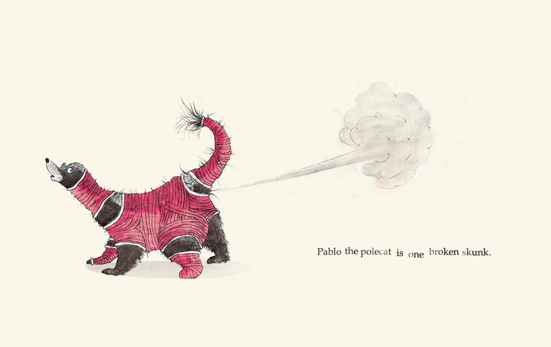 Pablo the polecat is one broken skunk - Broken - Picture Book by Pieter van den Heuvel