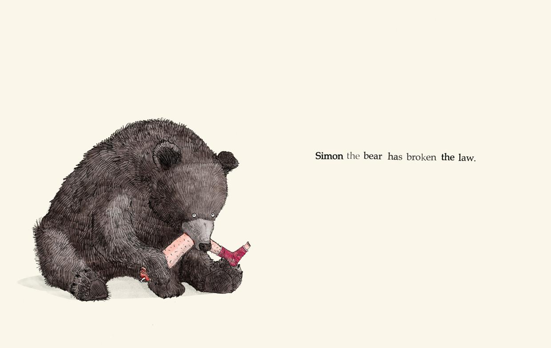 Simon the bear has broken the law - Broken - Picture Book by Pieter van den Heuvel