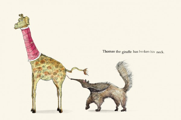 Thomas the giraffe has broken his neck - Broken - Picture Book by Pieter van den Heuvel