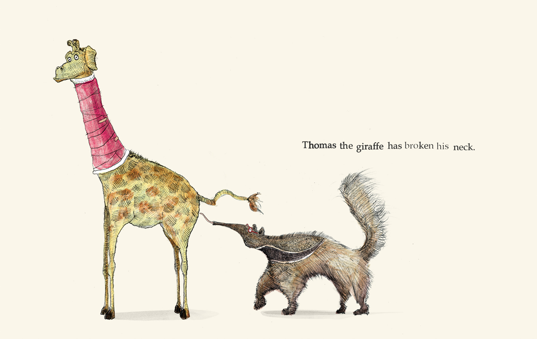 Thomas the giraffe has broken his neck - Broken - Picture Book by Pieter van den Heuvel