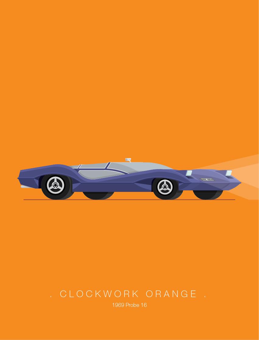 Clockwork Orange - Famous Cars - Art by Frederico Birchal