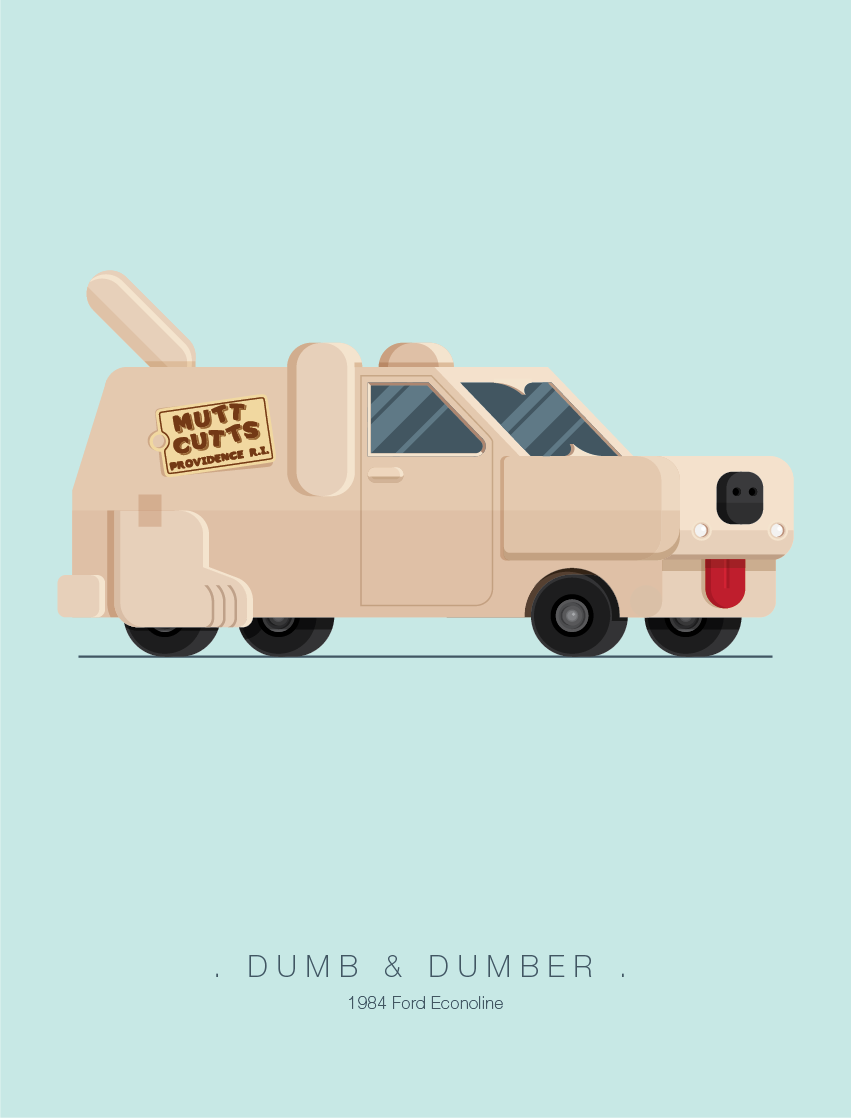 Dumb and Dumber - Famous Cars - Art by Frederico Birchal