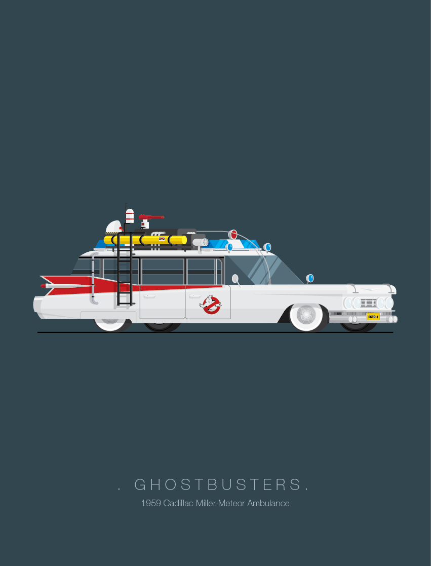 Ghostbusters - Famous Cars - Art by Frederico Birchal