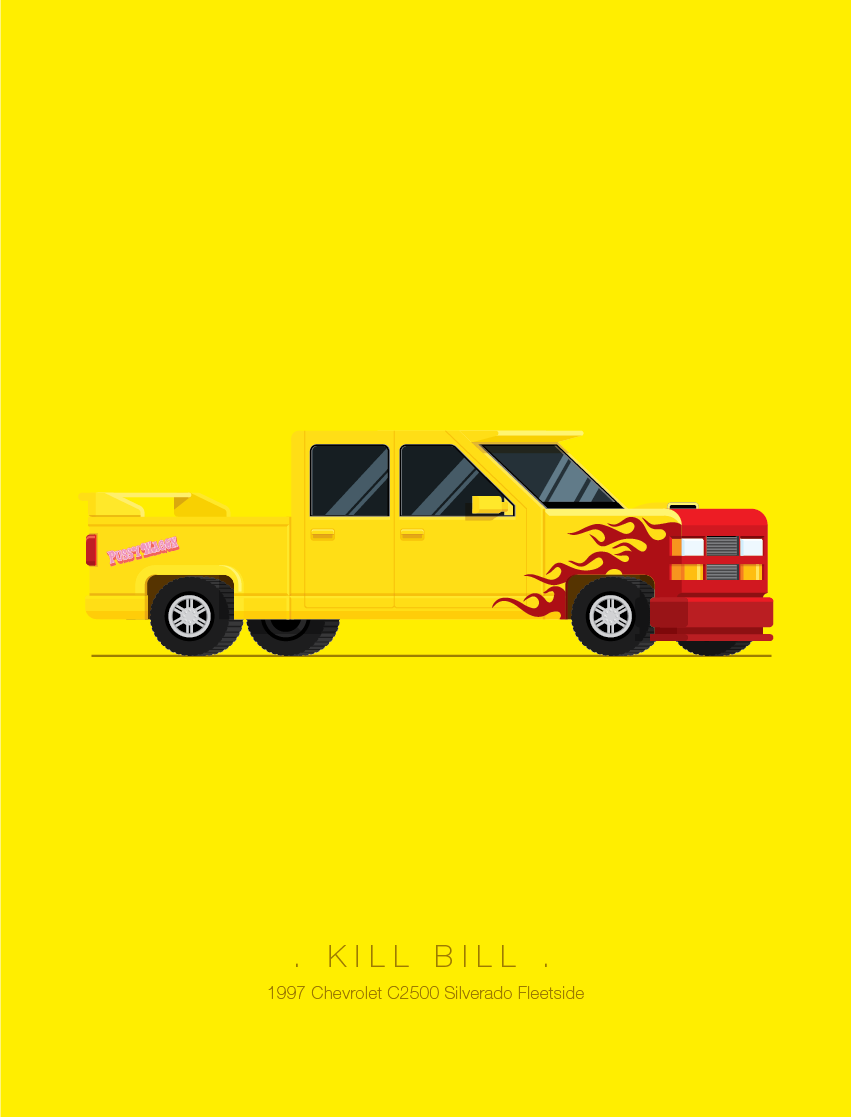Kill Bill - Famous Cars - Art by Frederico Birchal