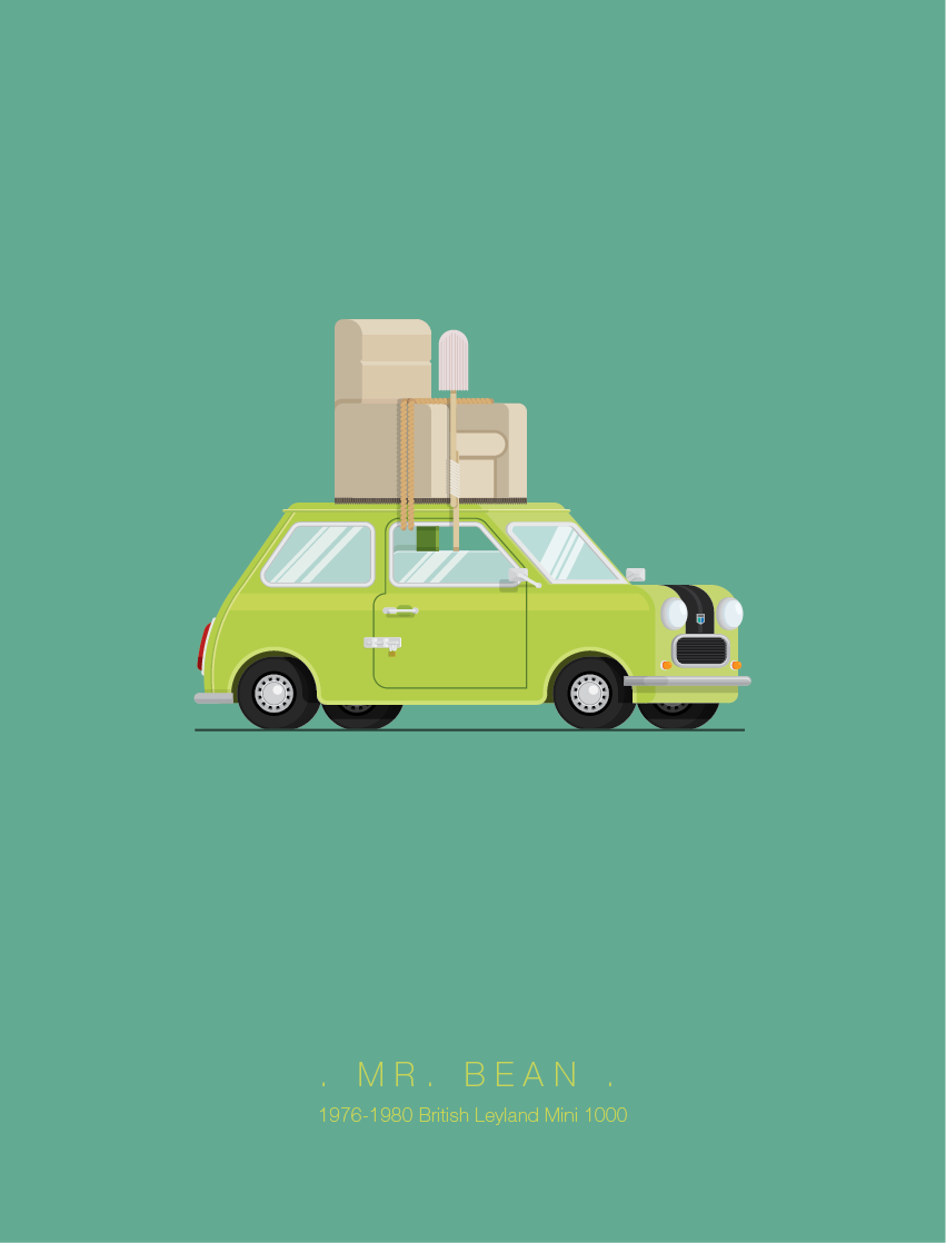 Mr Bean - Famous Cars - Art by Frederico Birchal
