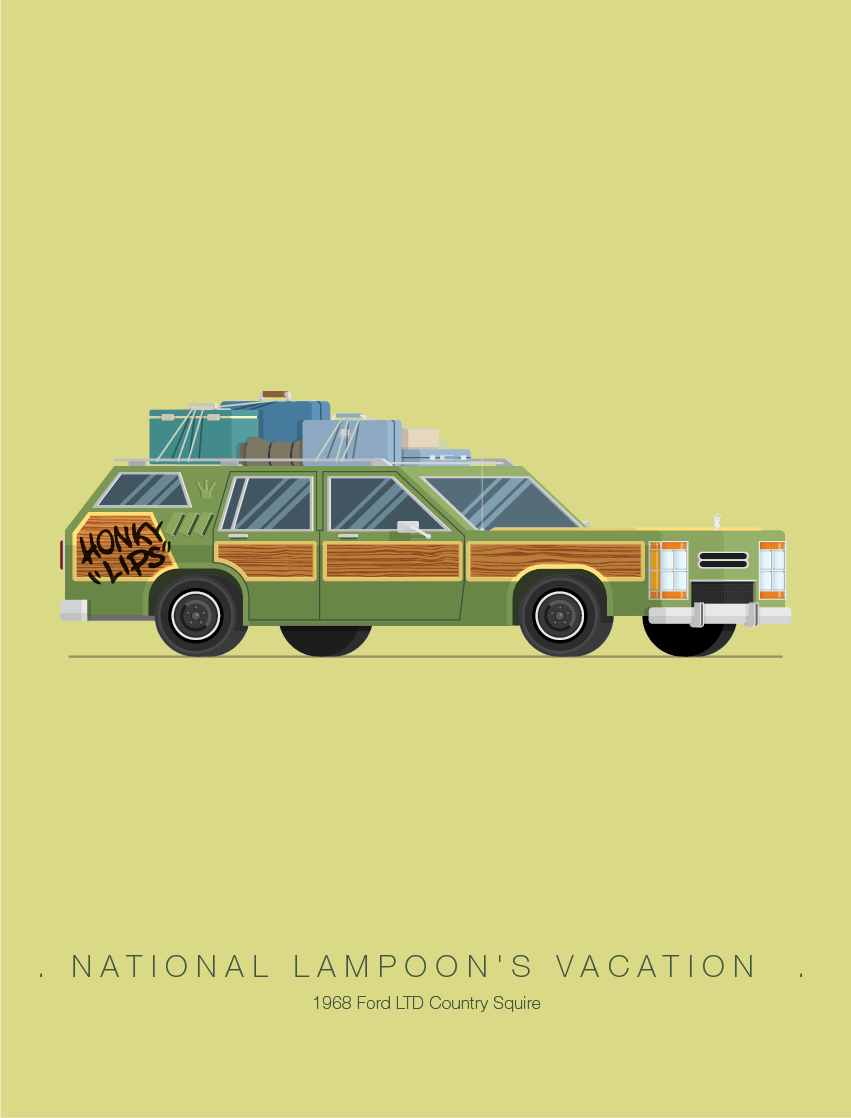 National Lampoon's Vacation - Famous Cars - Art by Frederico Birchal
