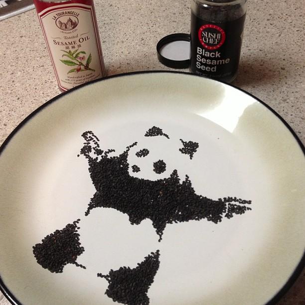 Panda Black Sesame Seeds - Art by Tisha Cherry @tishacherry