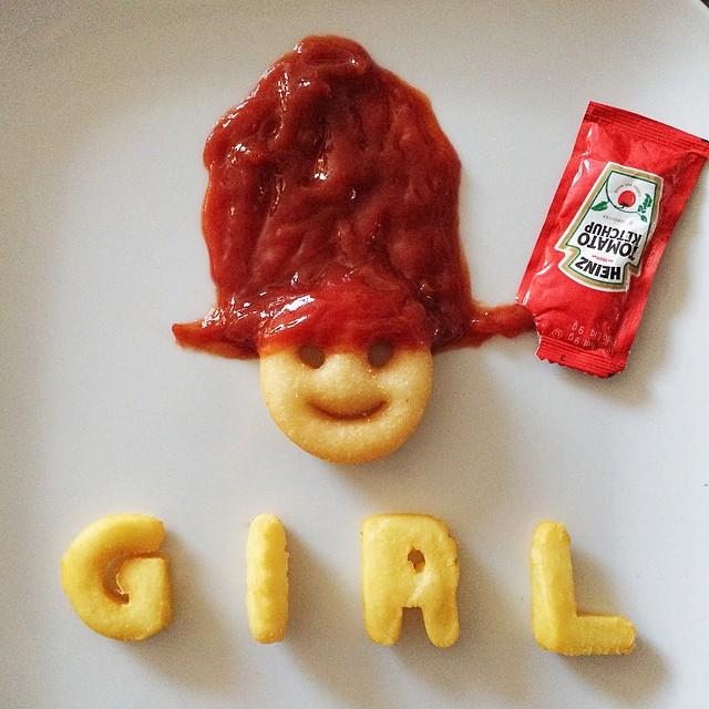 Pharell Girl Ketchup - Art by Tisha Cherry @tishacherry