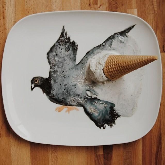 Pigeon Ice Cream Cone - Art by Tisha Cherry @tishacherry