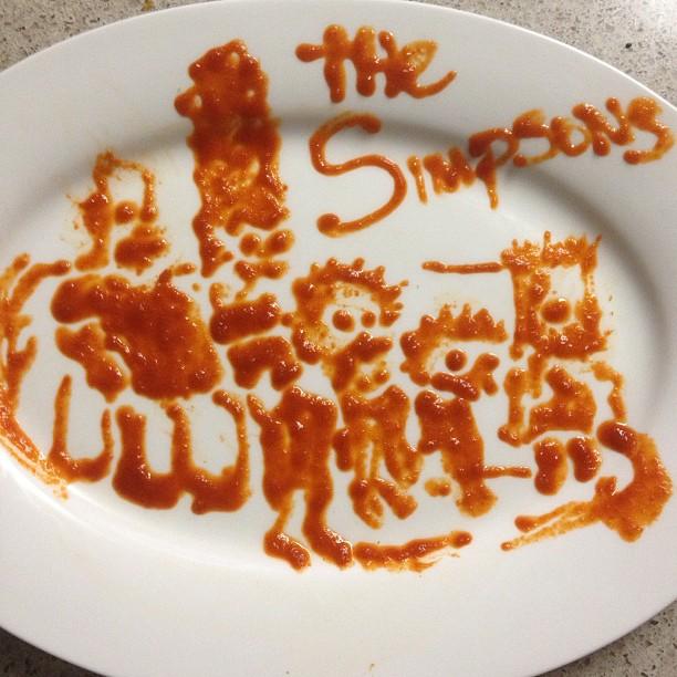Simpsons Sriracha Sauce - Art by Tisha Cherry @tishacherry
