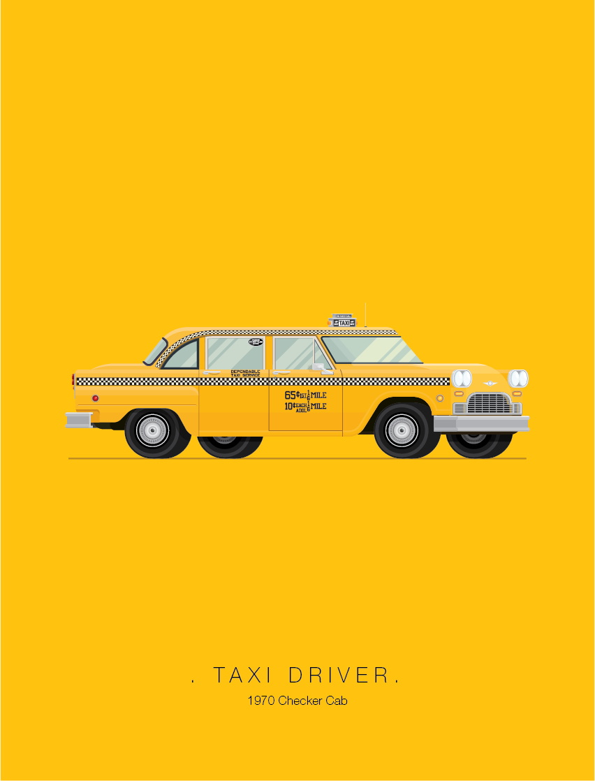 Taxi Driver - Famous Cars - Art by Frederico Birchal