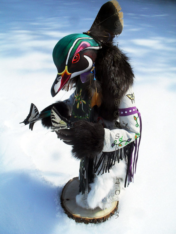 Wood Duck - Manitou - Sculpture by Kevin and Tanner Gadomski