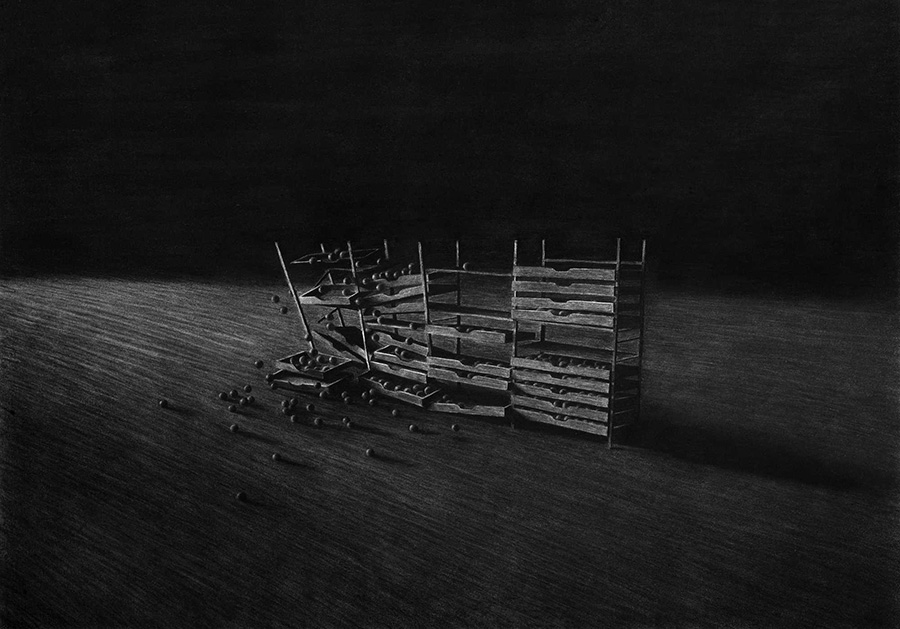 The Collapse of Cohesion - Charcoal Drawing by Levi van Veluw